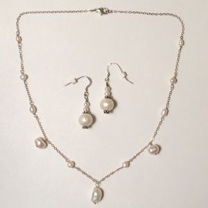 Freshwater Pearl & Sterling Necklace and Earrings